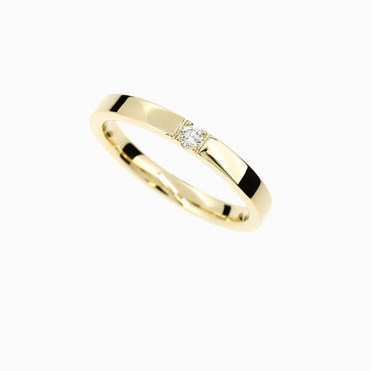Caress Ring with Diamond in Yellow Gold