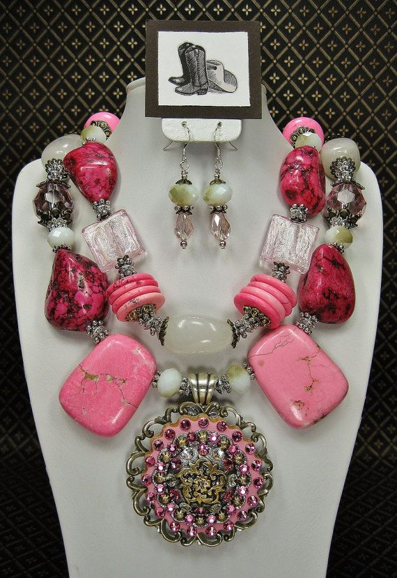PINK Chunky Western Style Statement Bold by CayaCowgirlCreations, $58.50