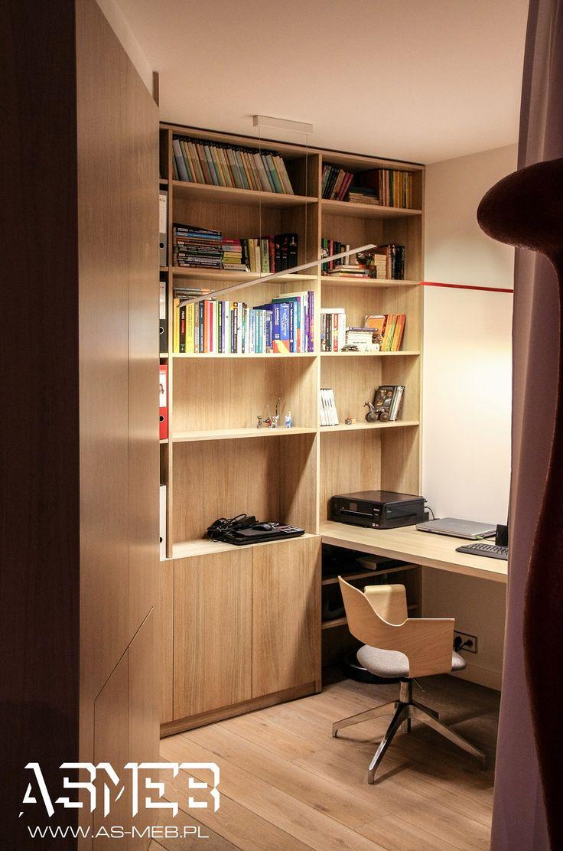 Mały gabinet otwarty na salon. Materiał Fornir dębowy bejcowany