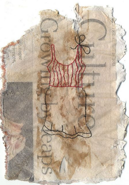 """Culture"" - Ines Seidel -stitched on tea bags and newspaper"