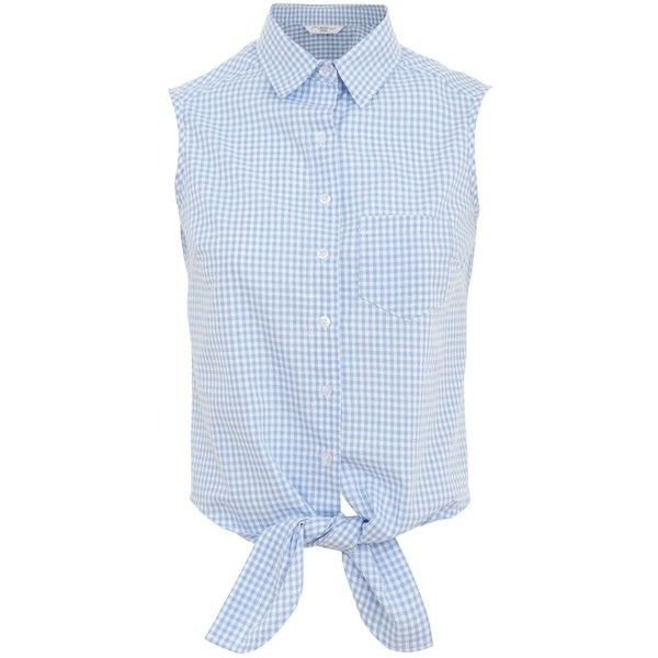 Blue Gingham Tie Front Sleeveless Shirt ($20) via Polyvore