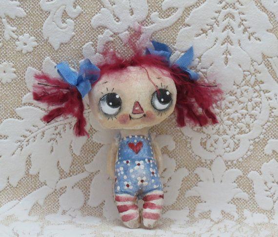 Teeny Raggedy ann painted cloth doll by suziehayward on Etsy, $34.00 sold