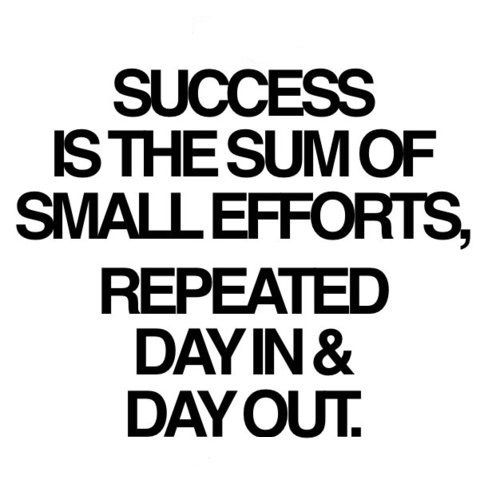 Success is the sum of small efforts, repeated day in & day out