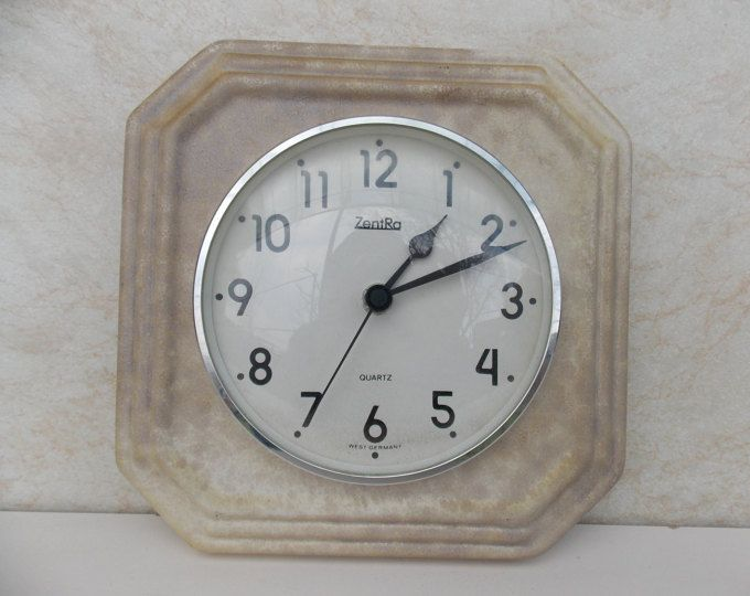 Ceramic wall clock, vintage wall clock, white clock, germany clock, working clock, Zentra Wall clock, Made in germany, Kitchen decor