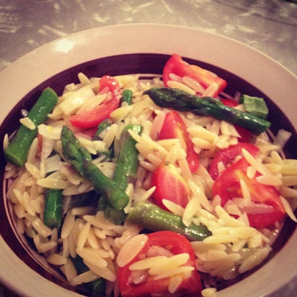Lemon orzo salad with asparagus and tomato- The recipe for this is on ...