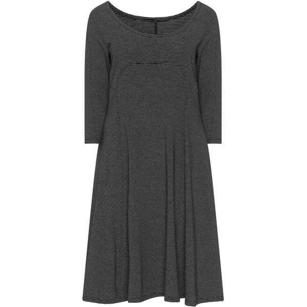 Boris Black / White Plus Size Jersey skater dress ($81) ❤ liked on Polyvore featuring dresses, black, plus size, white skater dress, plus size jersey dress, white long-sleeve dresses, long sleeve knee length dress and white a line dress