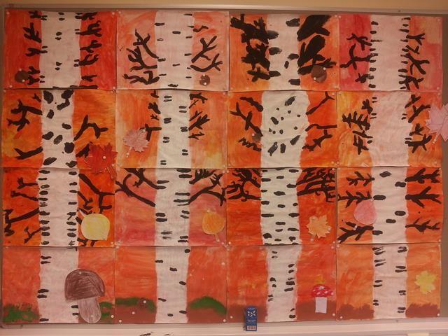 Luokan yhteistyönä toteutetttu syksyinen seinä (FB:n Alakoulun aarreaitta -sivustostta / Sari Salo)
