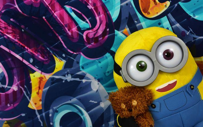 Hämta bilder 4k, Minion, graffiti, leksaker, Favoriter, Dumma Mig, 3d-animation