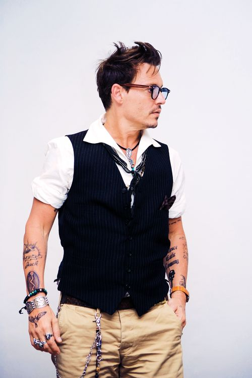 Johnny Depp, male actor, celeb, glasses, stylish, hottie, windy portrait. I'd know that profile ANYWHERE!!! photo