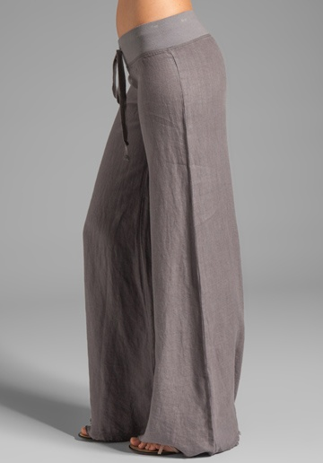 KRISA Wide Leg Linen Pant in Carbon - def gonna have to find a way to make some of these in this exact color