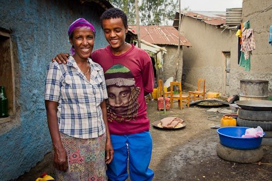 Biniyam lives in Ethiopia in a one-room shack with his family. I pulled out my mic and recorded this interview with him and his mum, then gave him a little surprise at the end. Click the image and take a listen.