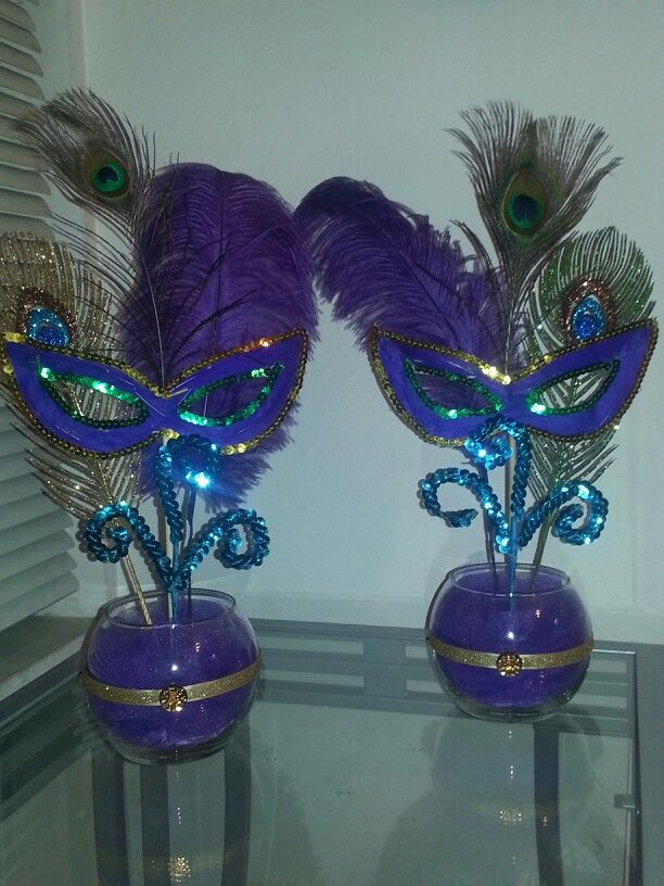 Mardi gras peacock centerpiece i made for a baby shower