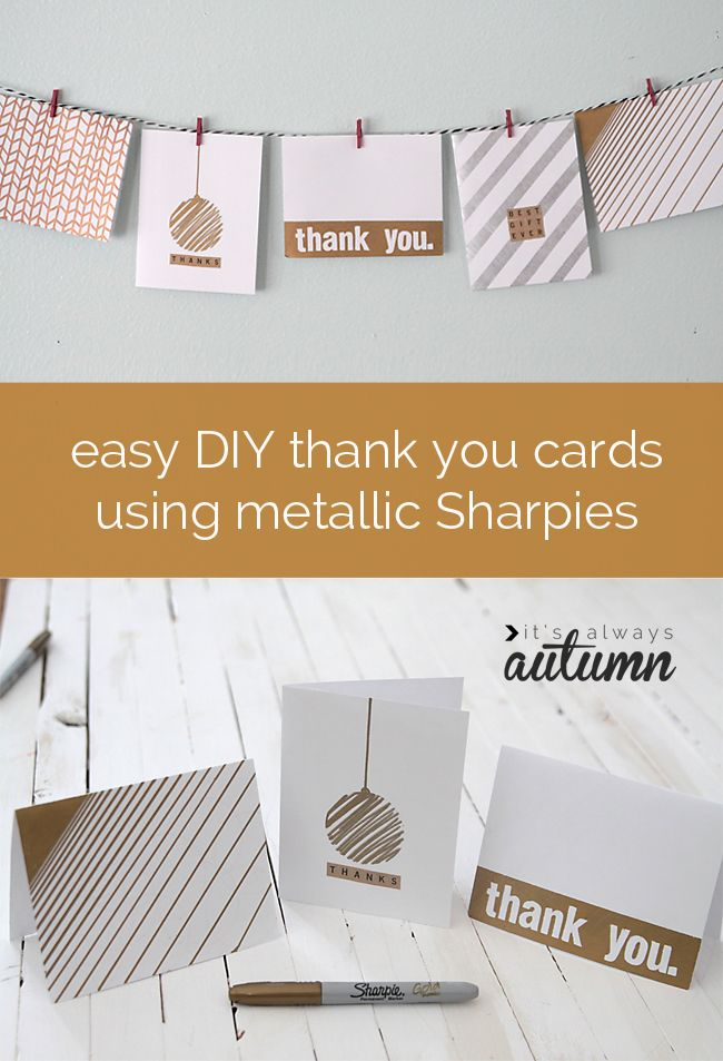 pretty gold and silver thank you cards you can make yourself using metallic sharpies