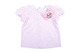 Camiseta para bebé niña, con líneas onduladas rosadas y blancas. Cuello redondo y mangas cortas.