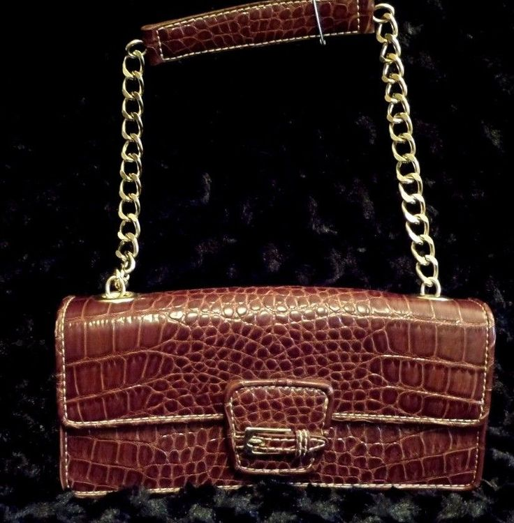 Vintage Liz Claiborne Faux Croc Leather Flap Shoulder Bag with Chain Strap VGC…