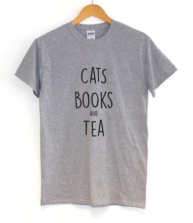 Women's Cotton T-Shirt-Cats, Books, and Tea