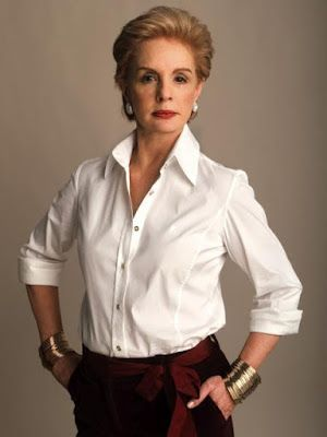 "Carolina Herrera, queen of the white shirt (from ""10 Ways To Wear A White Shirt"" via A Well Styled Life)."