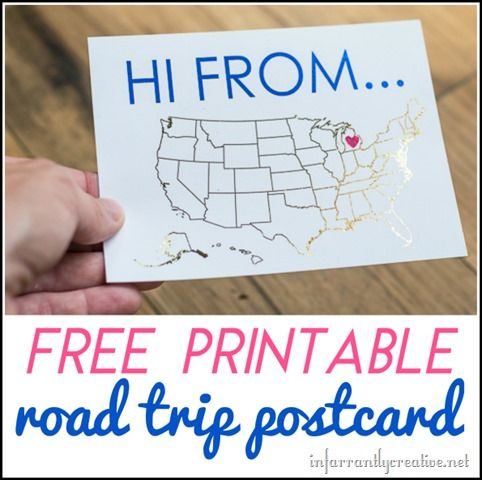 DIY CRAFTS | Free printable road trip postcard you can color or foil. Kids can send these to their friends.