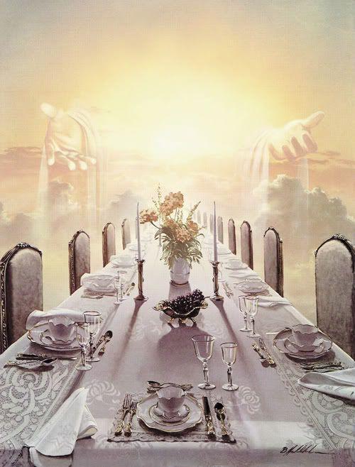 Apocalipsis 19:9 [ La cena de las bodas del Cordero ] Y el ángel me dijo: Escribe: Bienaventurados los que son llamados a la cena de las bodas del Cordero. Y me dijo: Estas son palabras verdaderas de Dios.♔