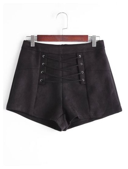 a0839d2211 Lace Up High Waisted Shorts (Black)