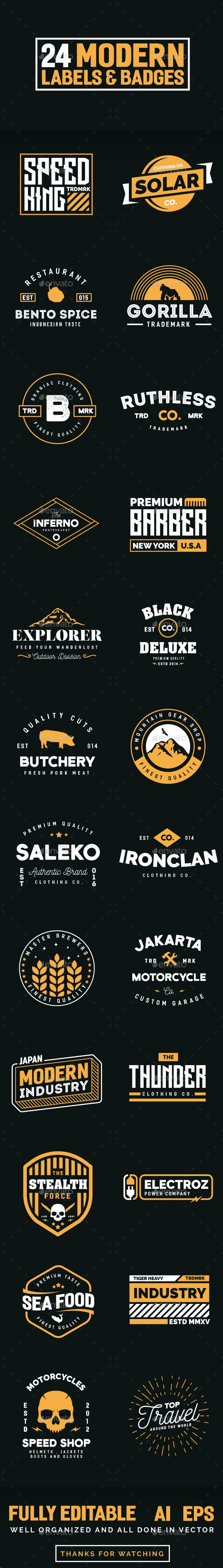 24 Modern Label and Badges Template Vector EPS, AI Illustrator