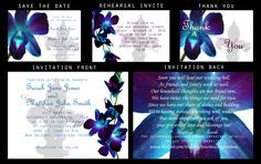 DIY Digital Printable Wedding Invitation set: BLUE ORCHID FLEUR DE LIS. Files customized for you, sent via email for you to print as many as you need, anywhere that does printing. $30 includes 5 digital design files of your choice. www.etsy.com/shop/cierakayleenphoto