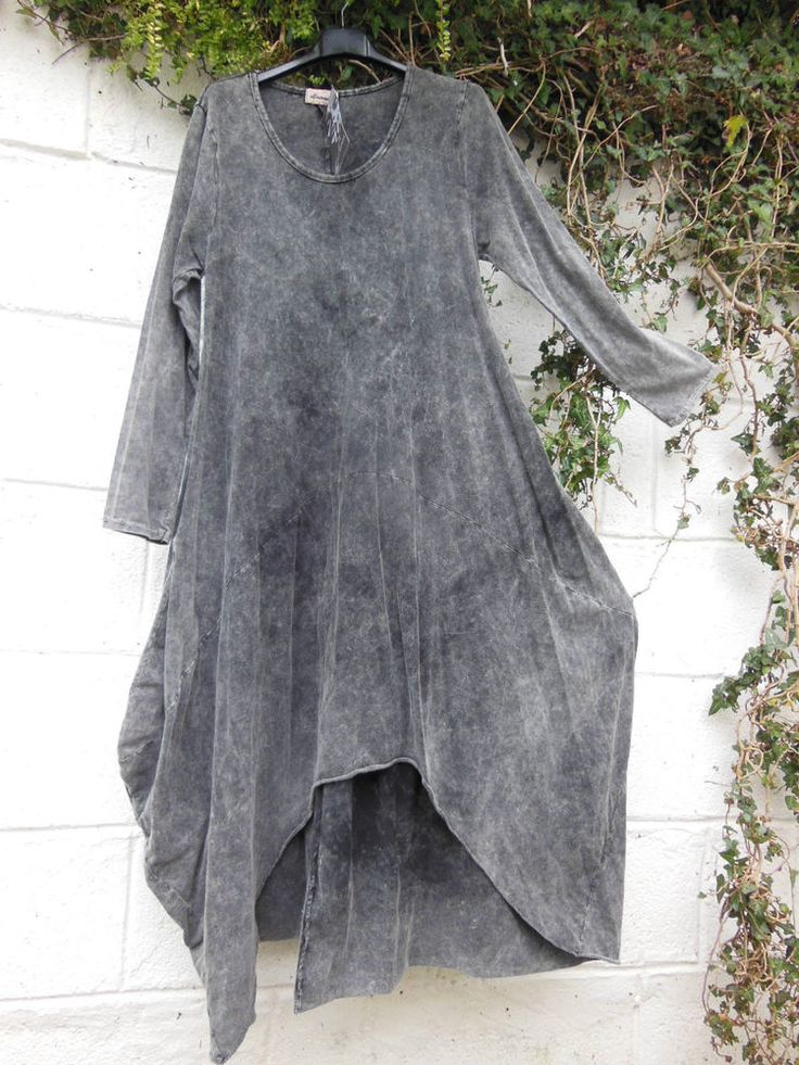 "LAYERING MAXI DRESS STONEWASHED COTTON GREY 38"" - 41"" BUST BNWT LAGENLOOK ETHNIC…"