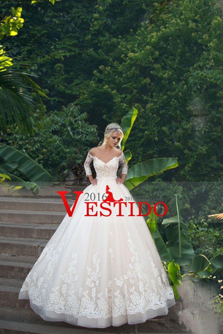 2016 Bateau vestidos de novia Longitud de la manga 4/3 con apliques de tul