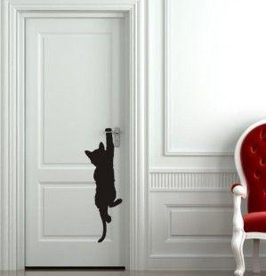 Sticker représentant un chaton (coloris noir). Laissez-vous attendrir par ce charmant trompe-l'oeil à poser partout où vous le souhaiterez ! Facile à poser sur surface lisse et - 1029609