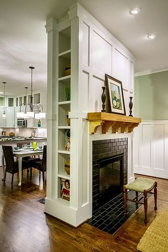 two sided fireplace with built in cabinets | Built-Ins Between Two-Sided Fireplace