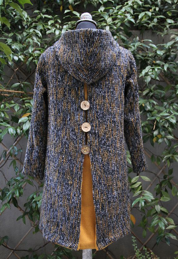 Black, grey and ochre wool hooded coat , by 'eating the goober'