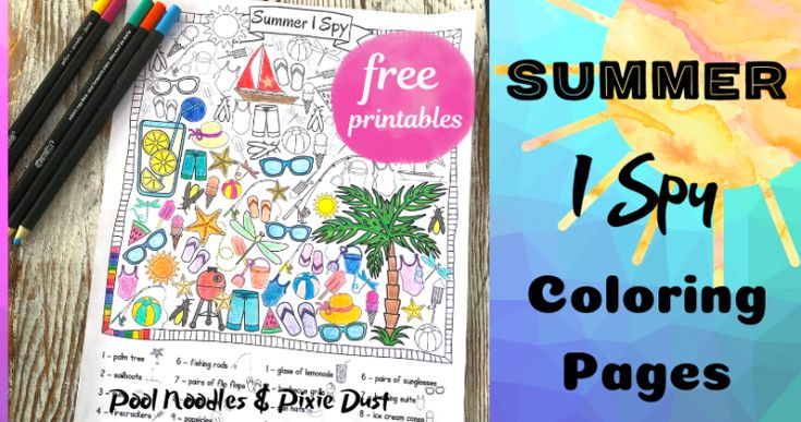 Summer I Spy Coloring Pages | Coloring pages, Pixie, Free ...
