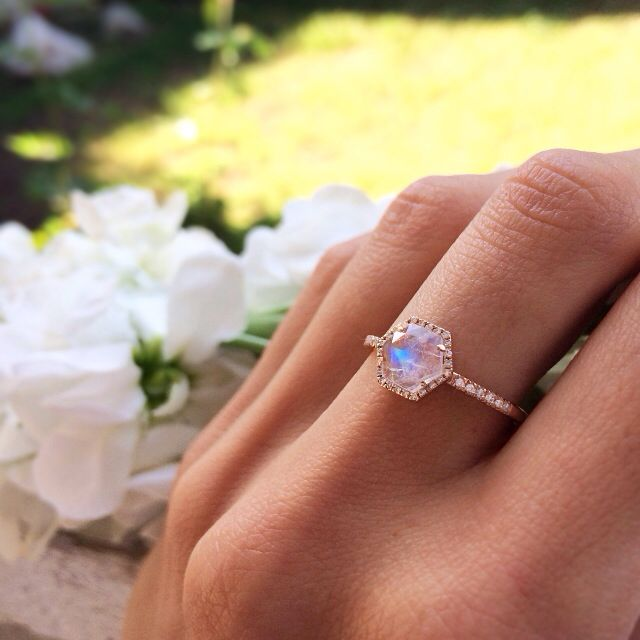 14kt gold and diamond moonstone hex ring – Luna Skye by Samantha Conn || I want a moonstone engagement ring most of all <3