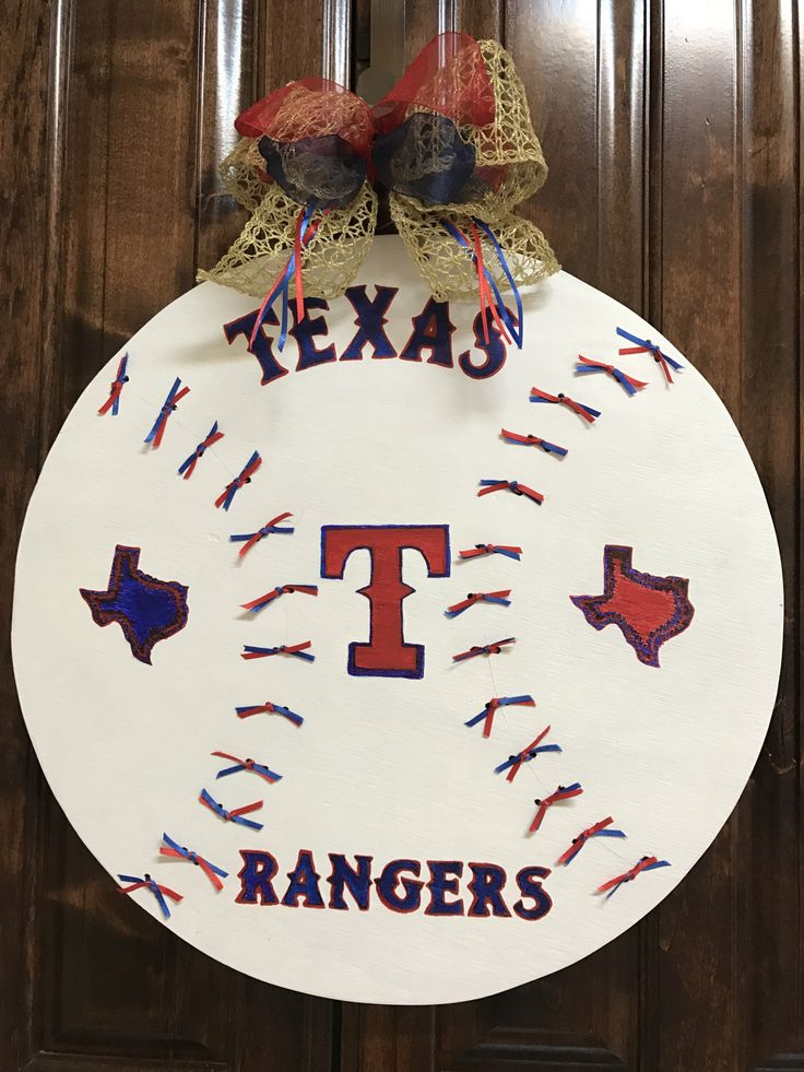 A personal favorite from my Etsy shop https://www.etsy.com/listing/501085388/texas-rangers-baseball-wood-door-hanger