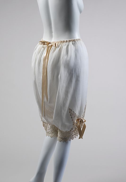 ~Cotton drawers with beige lace and ribbon trim, French, ca. 1890~  #1890 #fashion