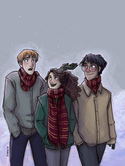 Ron Weasley, Hermione Granger & Harry Potter | art by Clara