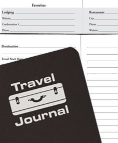 The travel journal includes travel dates, checklist, events, time zone map, international calling codes, common phrases, and currencies.