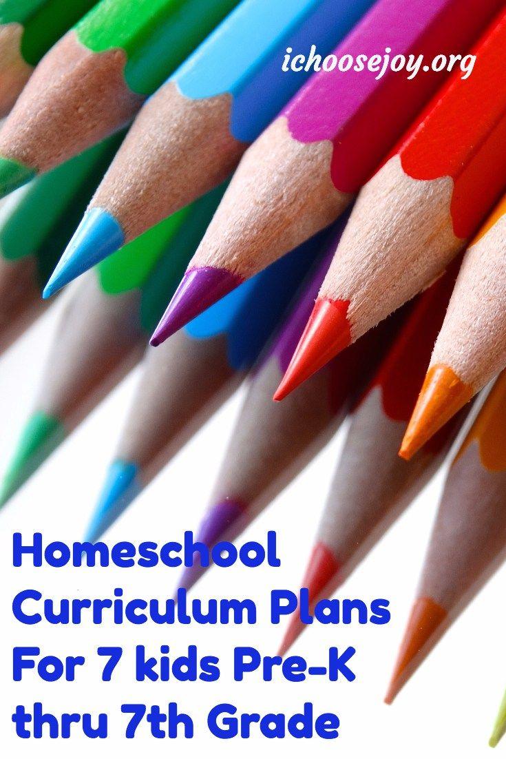 Homeschool Curriculum Plans 7 kids Pre-K thru 7th grade