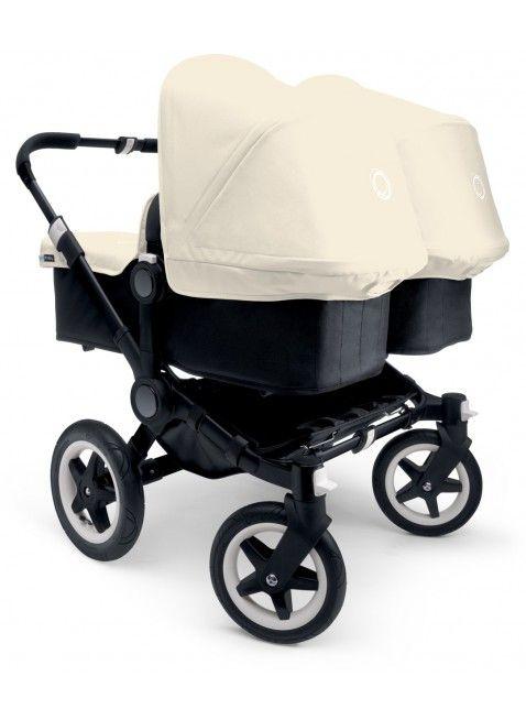 Kinderwagen für Zwillinge und Geschwister: Bugaboo Donkey Twin Zwillingskinderwagen Set Silber / off white. Mehr Infos auf https://www.kleinefabriek.com/.