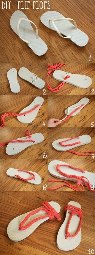 DIY Flip Flop sandals more comfortable What you need for these DIY flip flops - 't-shirt yarn', store bought or homemade - scissors - flip flops How to make these DIY flip flops