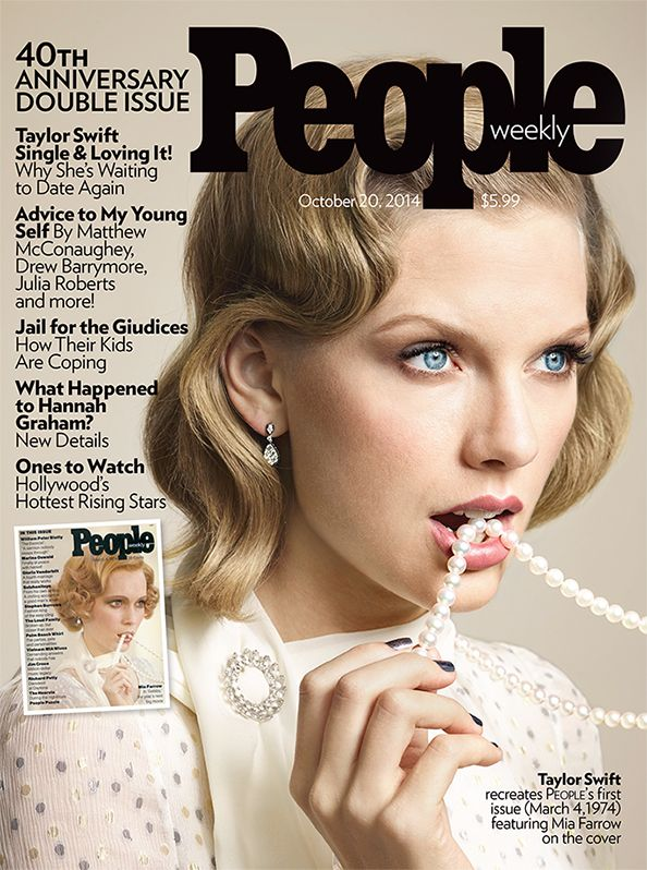 Get ready for PEOPLE magazine's 40th anniversary issue: Taylor Swift recreates Mia Farrow's 1974 cover! #InStyle #Mikimoto