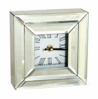 Sil Silver Mirror Mantel Clock Square 15 X 15cm A square mirror clock approximately 15x15cm in size.