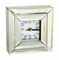 Sil Silver Mirror Mantel Clock Square 15 X 15cm A square mirror clock approximately 15x15cm in size.