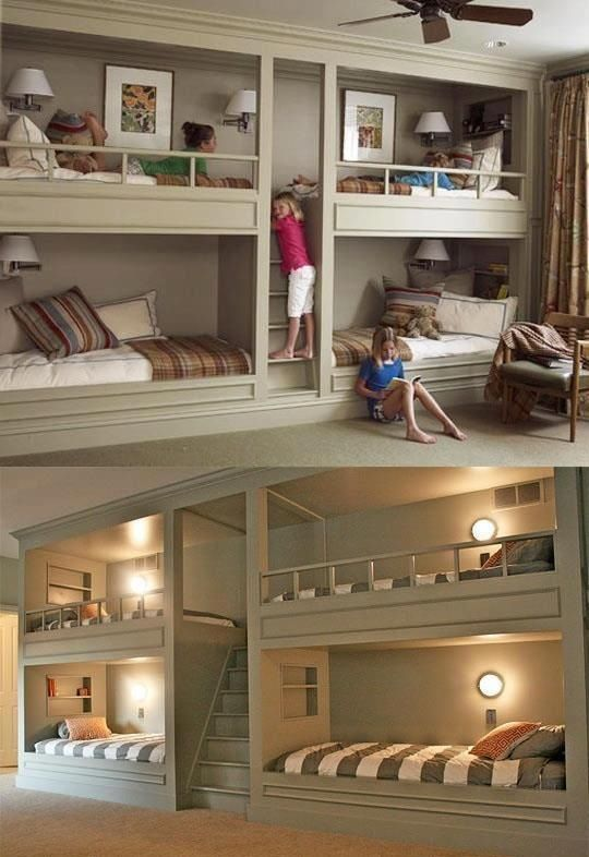 Sleepover room -- Not only am I obsessed with attic-like rooms, but I LOVE multi-leveled things (like bunk beds). They did a beautiful job on this. Simple and classy.