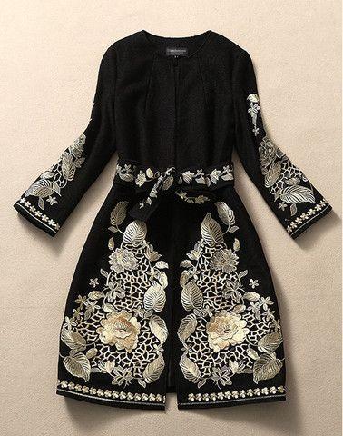 Belted Black Embroidered Wool Coat Jacket