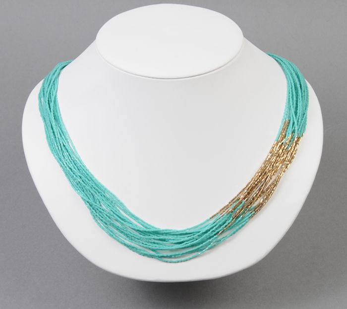 """This necklace is made with opaque turquoise green 15/0 cut seed beads (15C-412) and 24kt light gold plated size 15 cut Delica beads (DBSC-0034). It took approximately 50 grams of 15C-412 and 5 grams of DBSC-0034 to achieve an average overall length of 21"""" for the strands."""