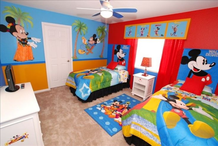 Home Design and Interior Design Gallery of Mickey Mouse Lively Kids Rooms With Custom Wallpaper