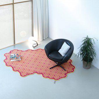 Schön FLAT´N Wollteppich Tiles Himbeer/mango