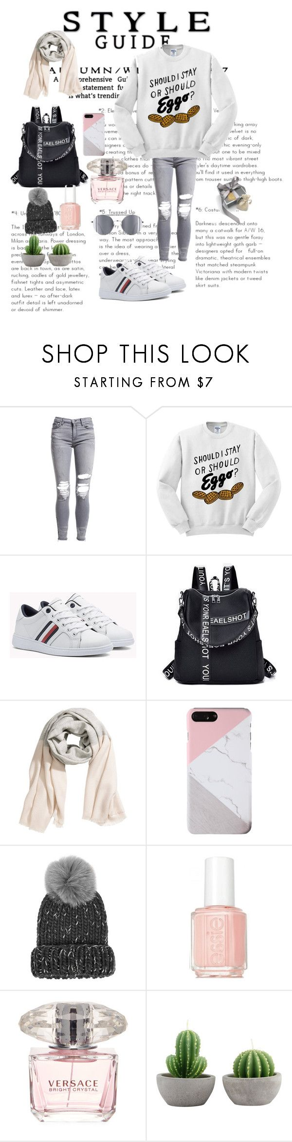 """Untitled #147"" by thifaf-darwish ❤ liked on Polyvore featuring AMIRI, H&M, Eugenia Kim, Essie and Versace"