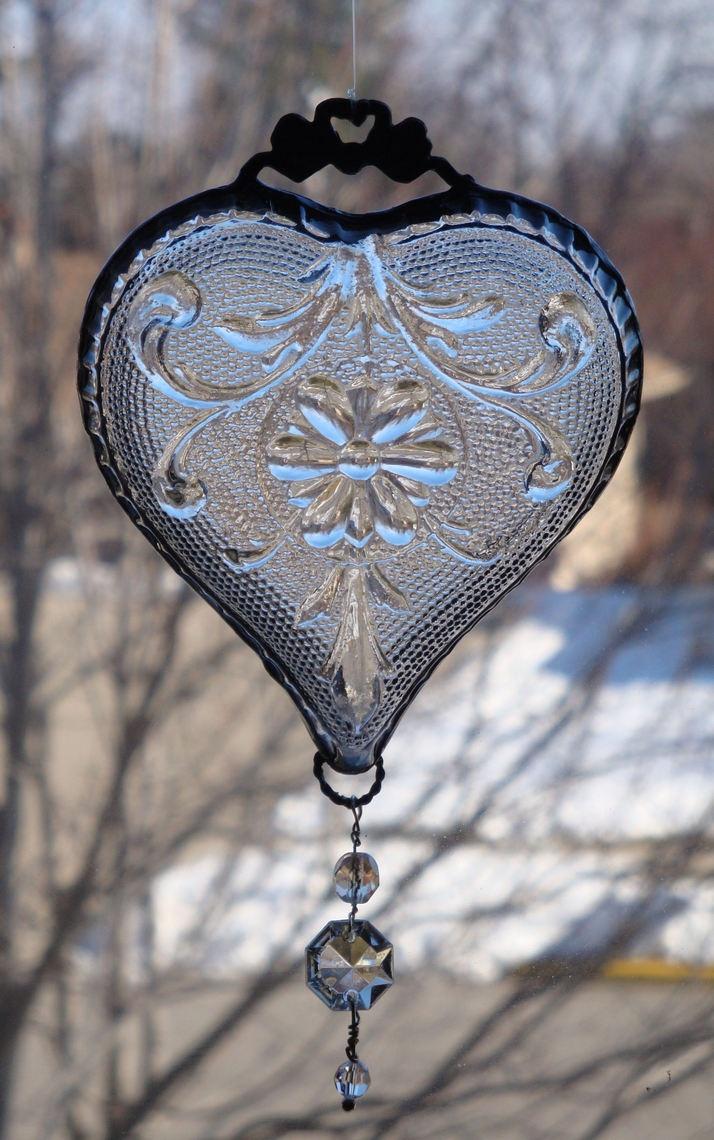 Hearts:  Vintage pressed glass candy dish #heart suncatcher.